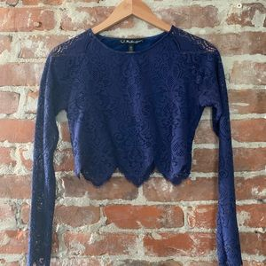 Navy Long-sleeve Lace Crop Top